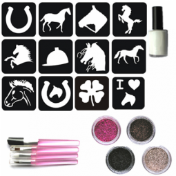 Glitter tattoos paardenset