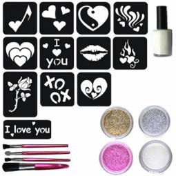 Glitter tattoos valentijnset