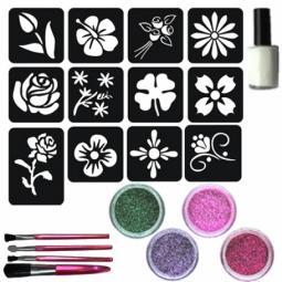 Glitter tattoos bloemenset