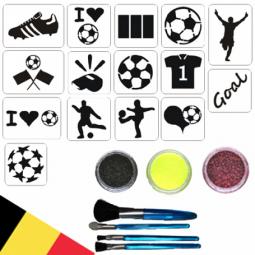 Glitter tatoos set voetbal WK