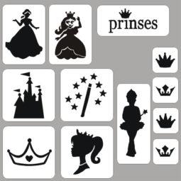 Glittertattoos prinses sjablonenset