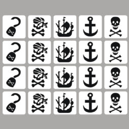 glittertattoo sjablone piraten